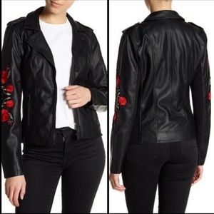 NWT Sebby Faux leather embroidered moto jacket